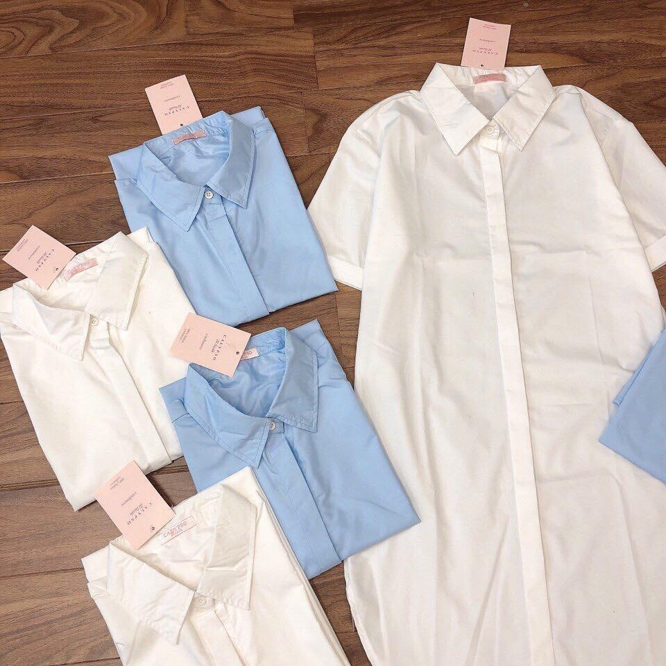 Váy Sơ Mi Vạt Lệch Cộc Tay Tủ 3