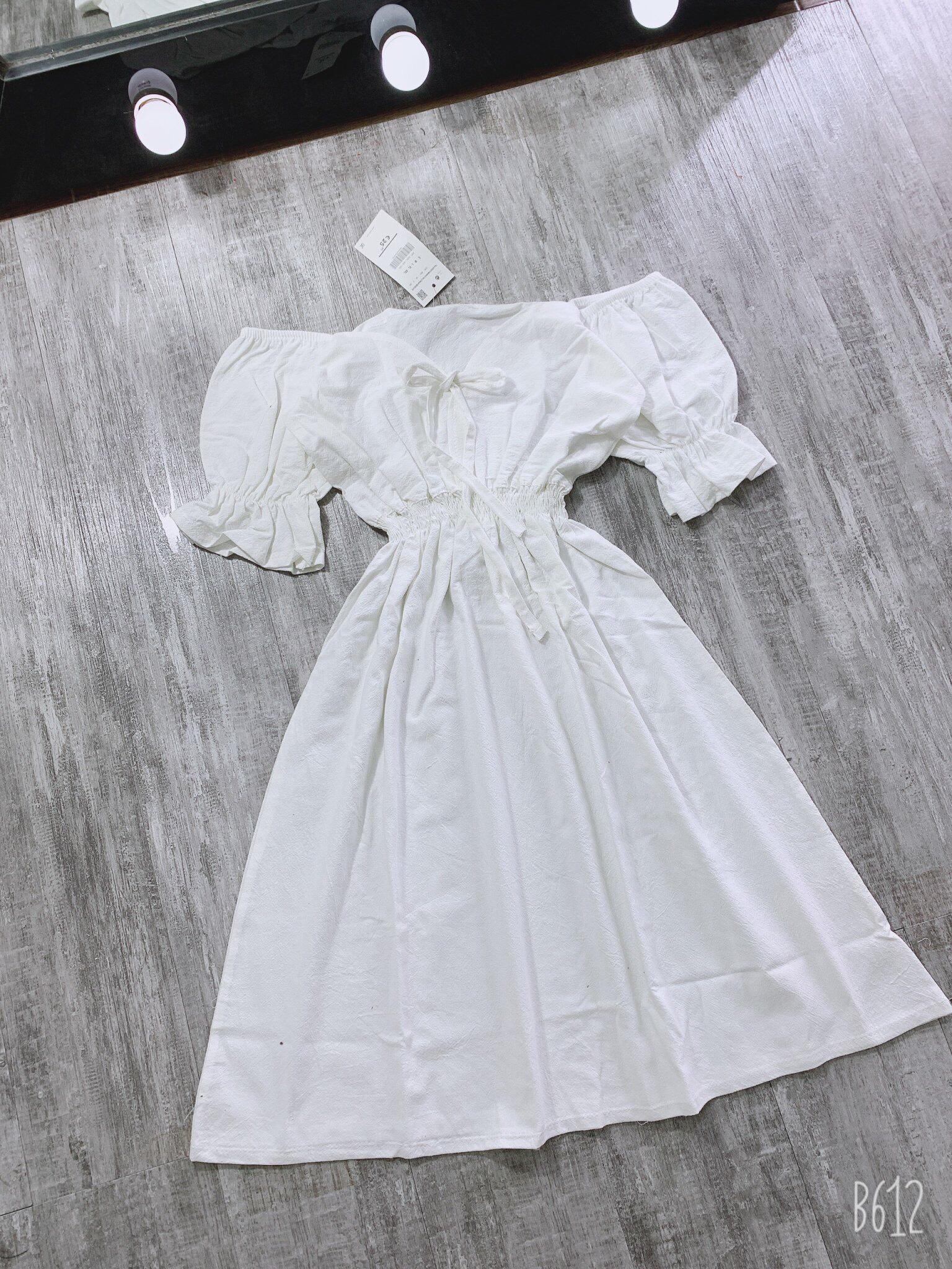 Váy Trắng Chun Eo Nơ Ngực  - Tủ 1