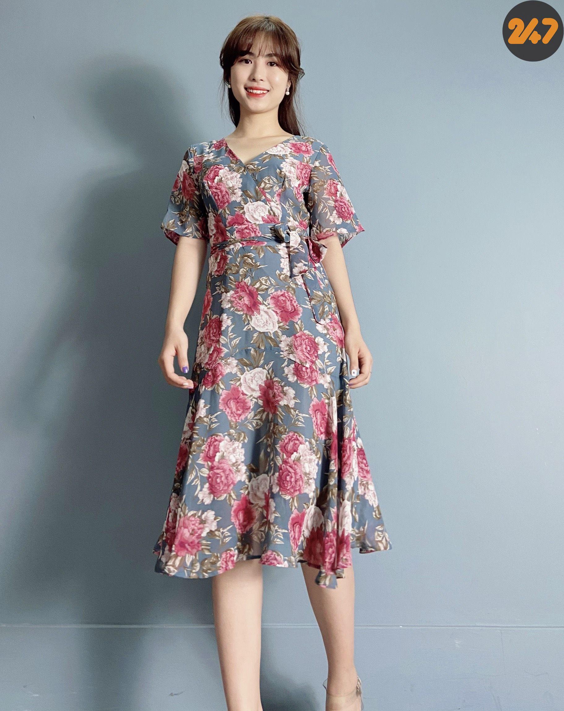 Váy Voan Hoa Hồng- Tủ 9