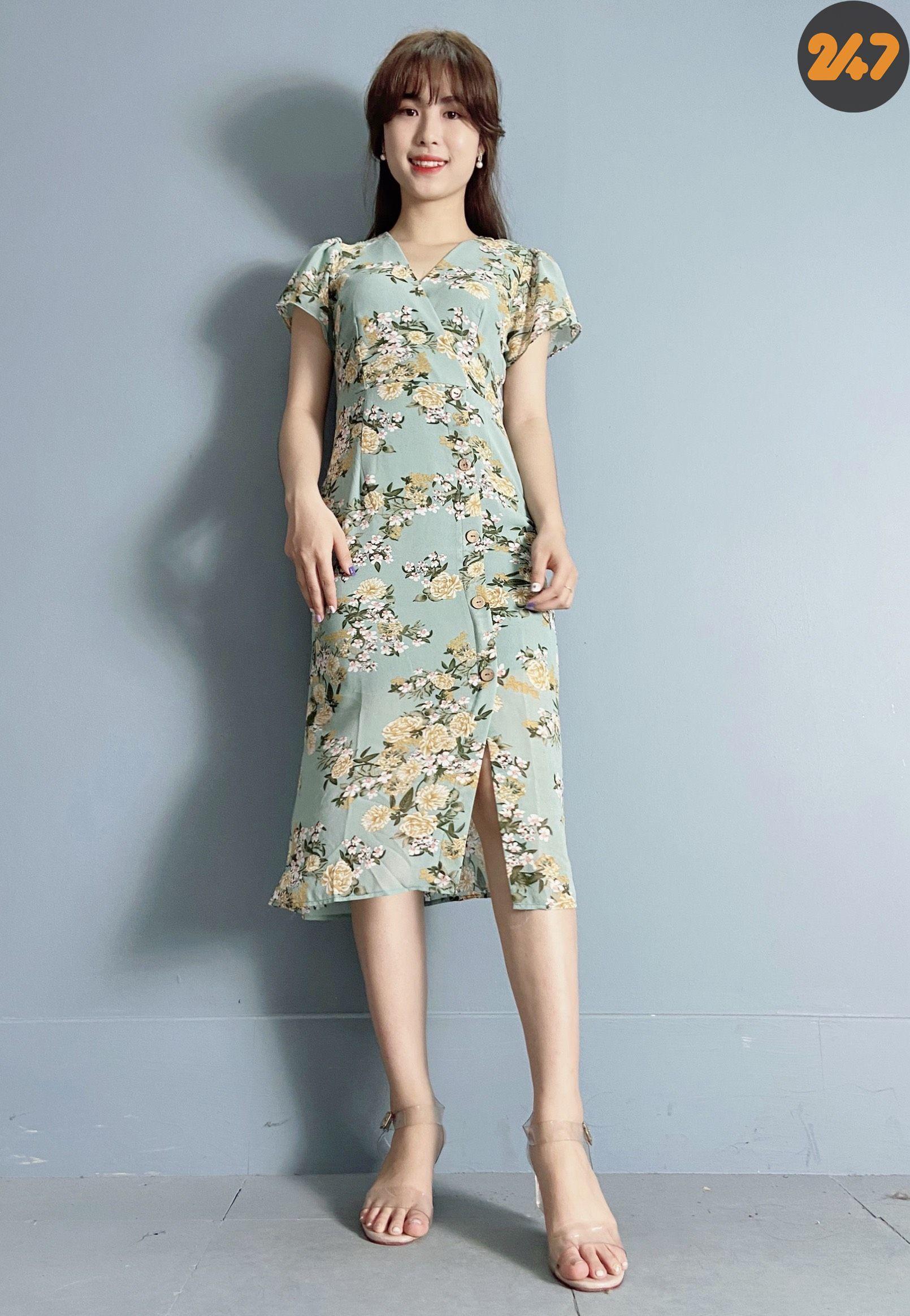 Váy Hoa Xanh 2 Lớp NB/T2/Pbé/Tủ 8-9