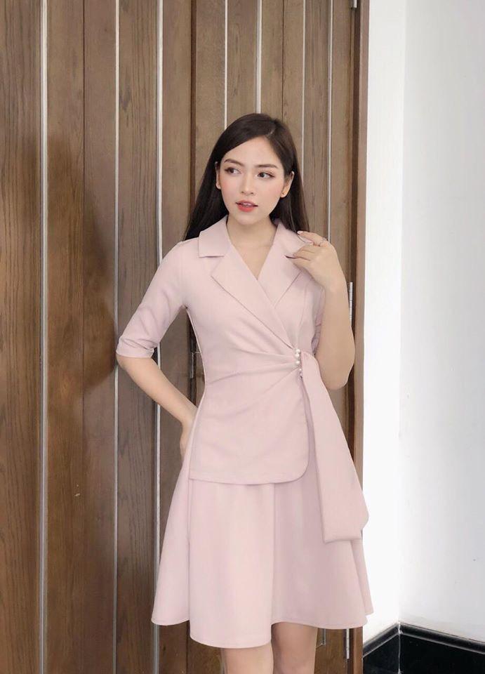 Váy Cổ Vest Tay Lỡ NB/T2/Pto/K6