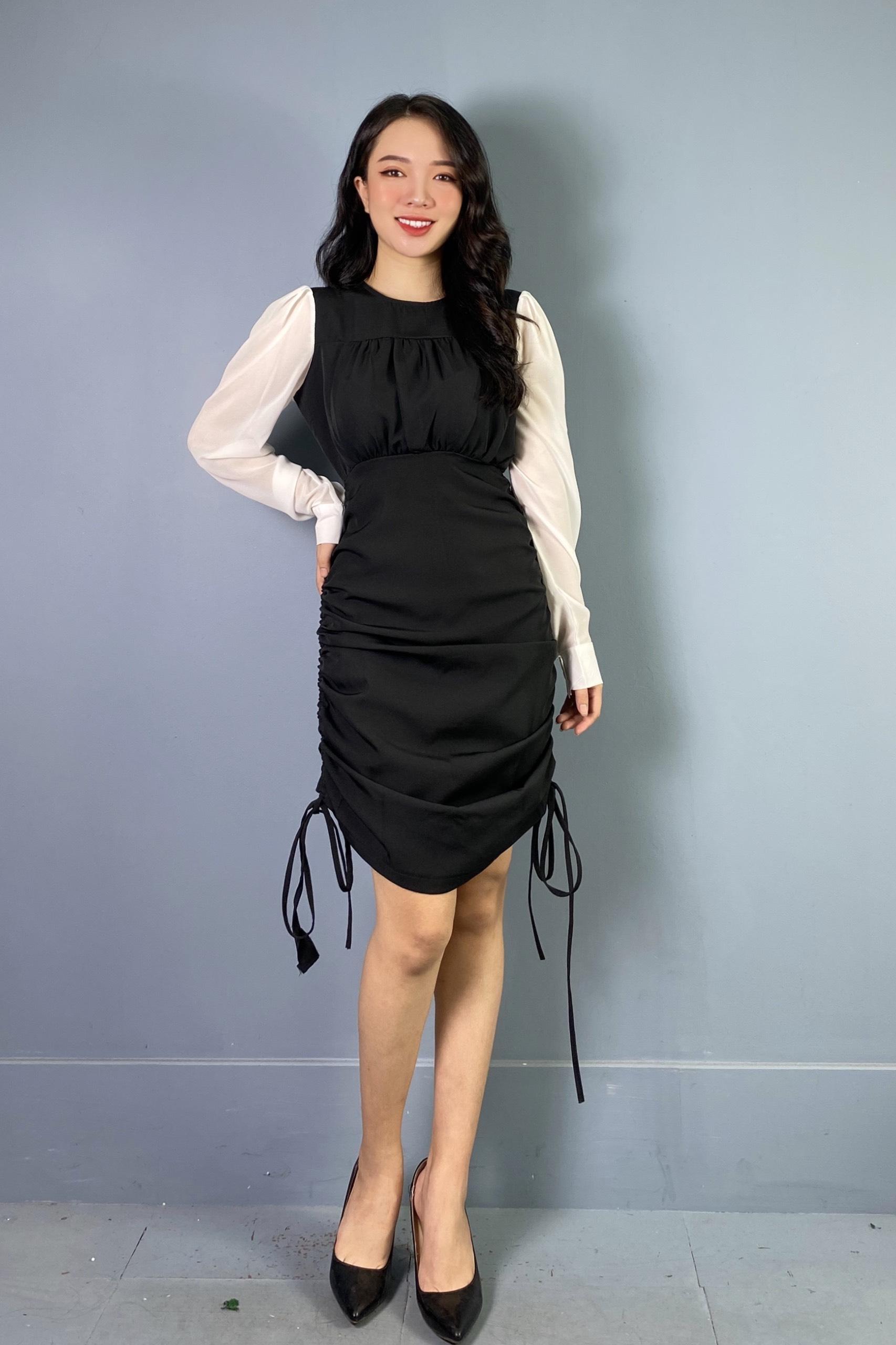 Váy Đen Dài Rút 2 Bên  NB/T1/K18