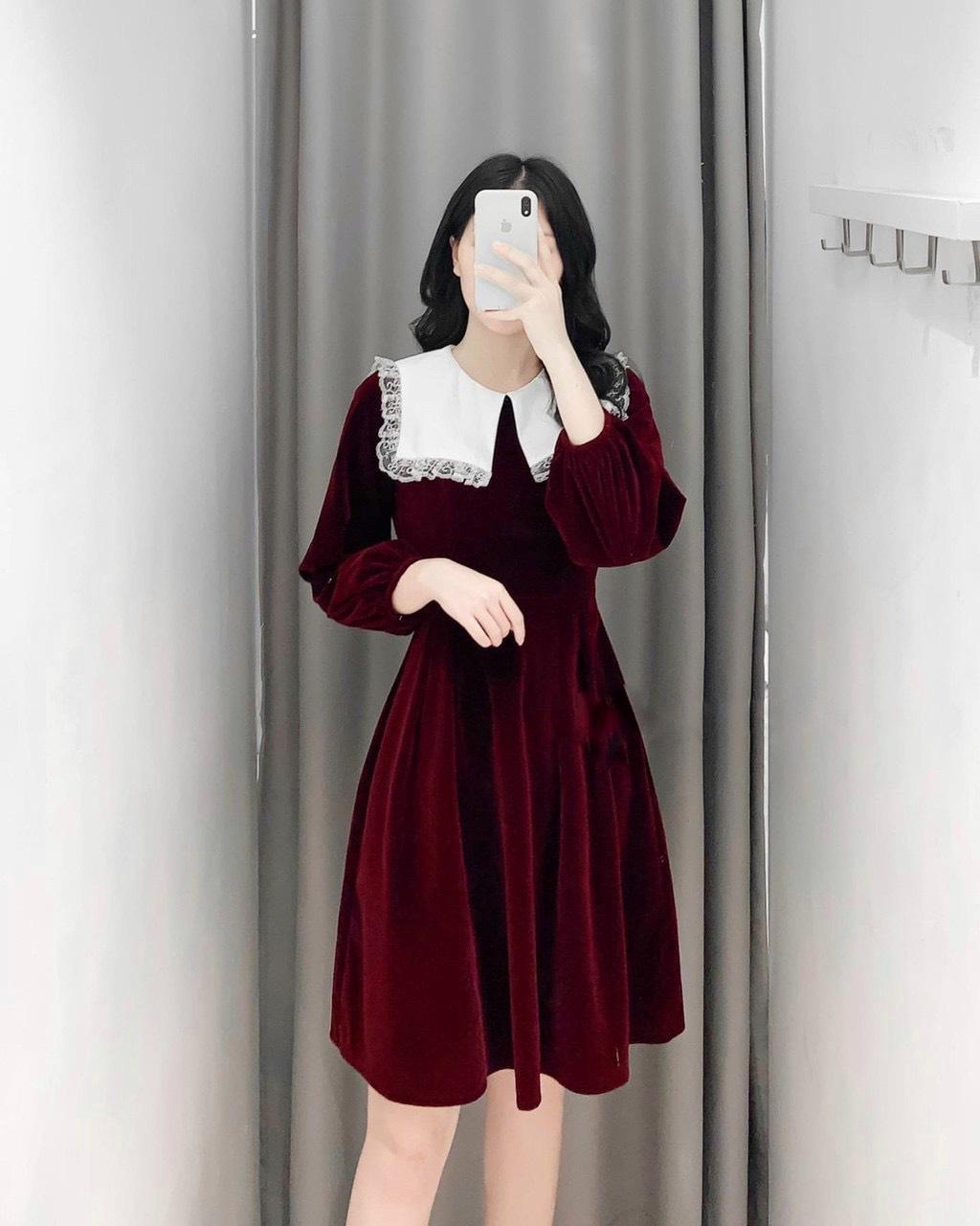 Váy Nhung Cổ Phối Trắng Viền Ren NB/T2/Pto-K17