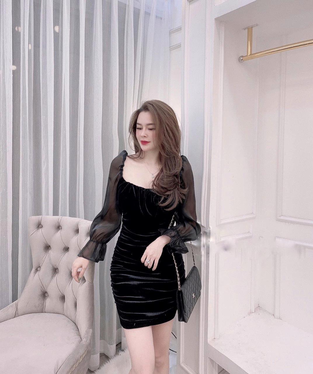 Váy Nhung Thân Nhún Dài Tay - NB/T2/Pto/K11