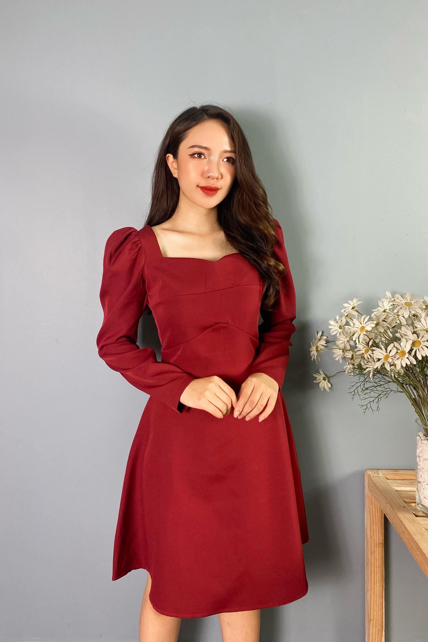 Váy Đỏ Cổ Vuông V Vai Chun NB/T2/Pto-K14