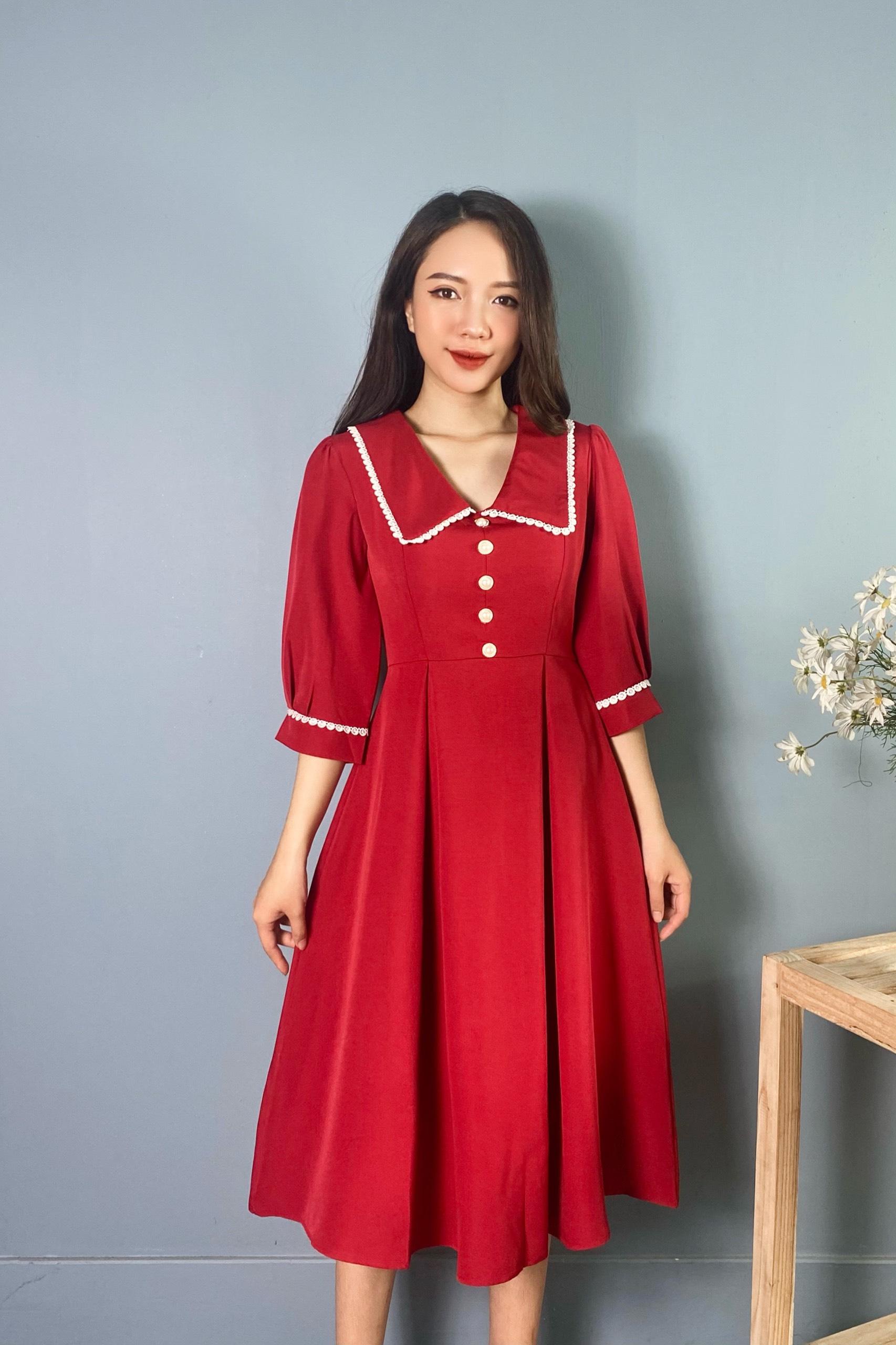 Váy Đỏ Tay Lỡ Cổ Ren NB/T2/PTo-K13
