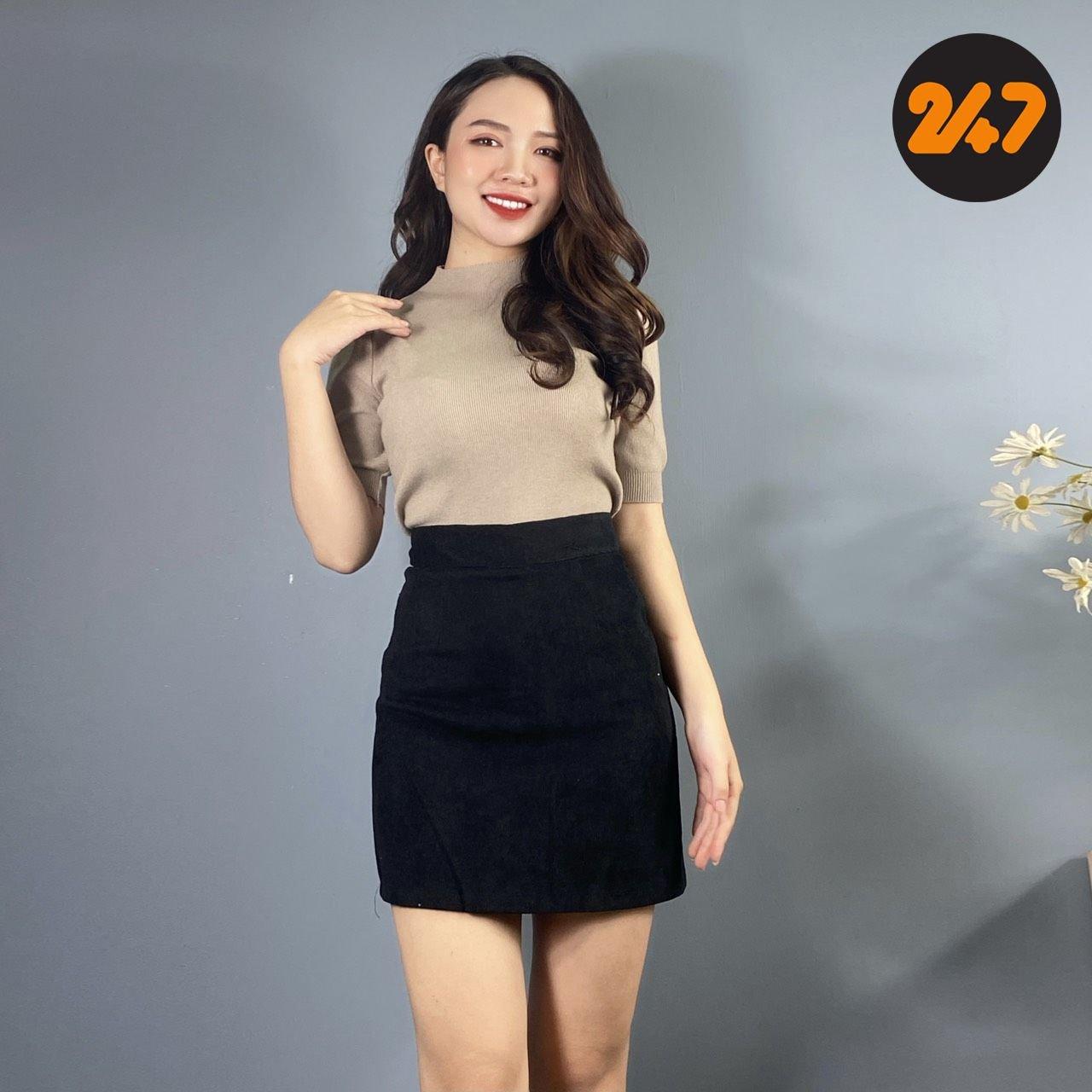 Chân Váy Cạp Cao Nhung Tăm 523 NA/T2/PA/K8