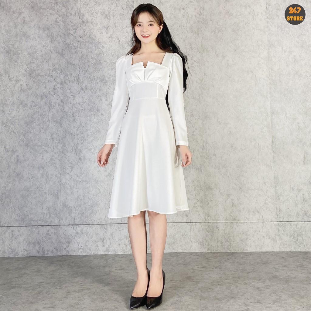 Váy Trắng Xẻ Ngực Tay Đính Ngọc Loại Đẹp NB/T1/K5