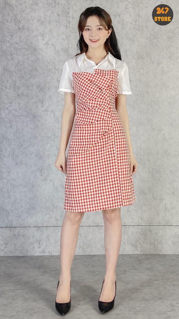 Váy Kẻ Chữ A Phối Tay - NB/T1/K12
