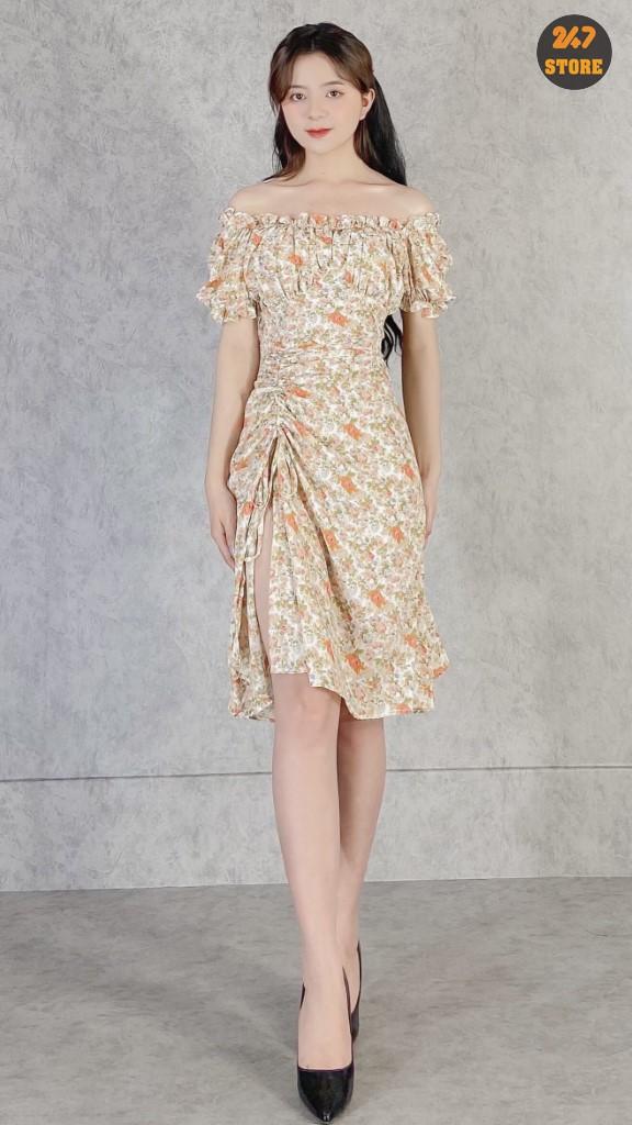 Cắt Mã - Váy Hoa Cam Xẻ Rút Bên T1/NB/K25