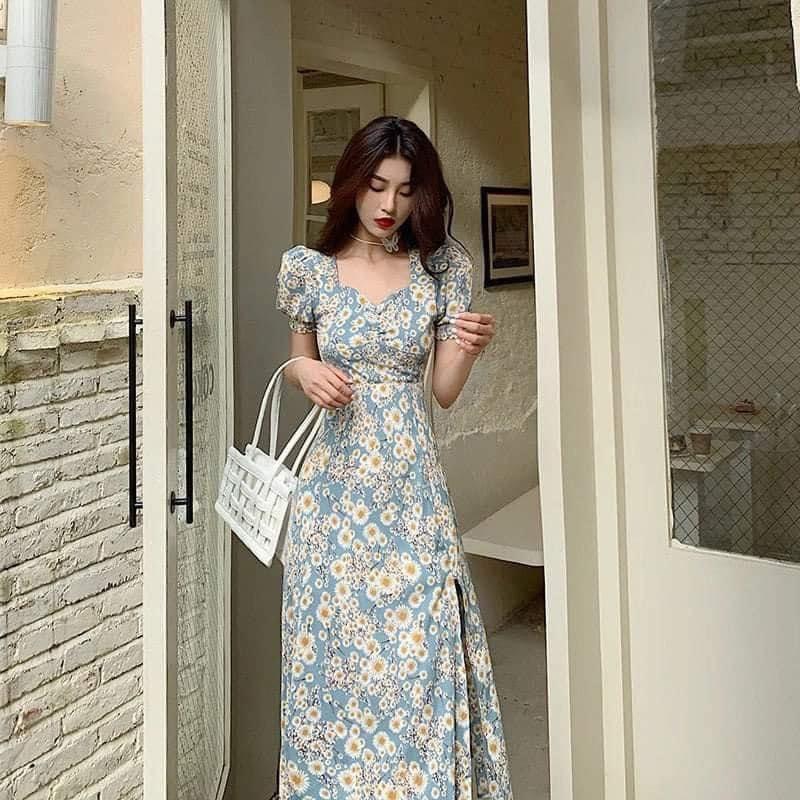 Váy Xòe Hoa Cúc Xẻ NB/T1/K10