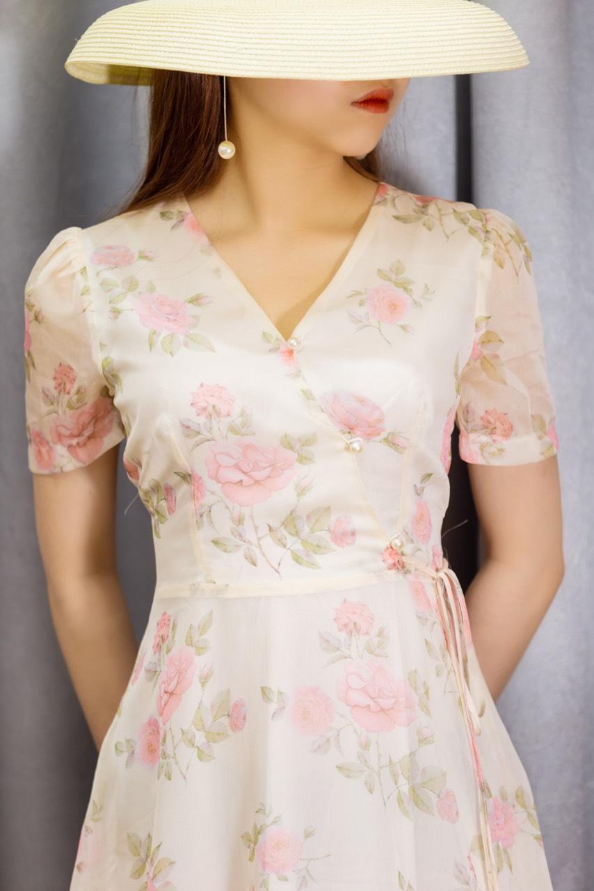 Váy Hoa Hồng Cổ V Cúc Ngọc Chéo - NA/T2/PB/K7