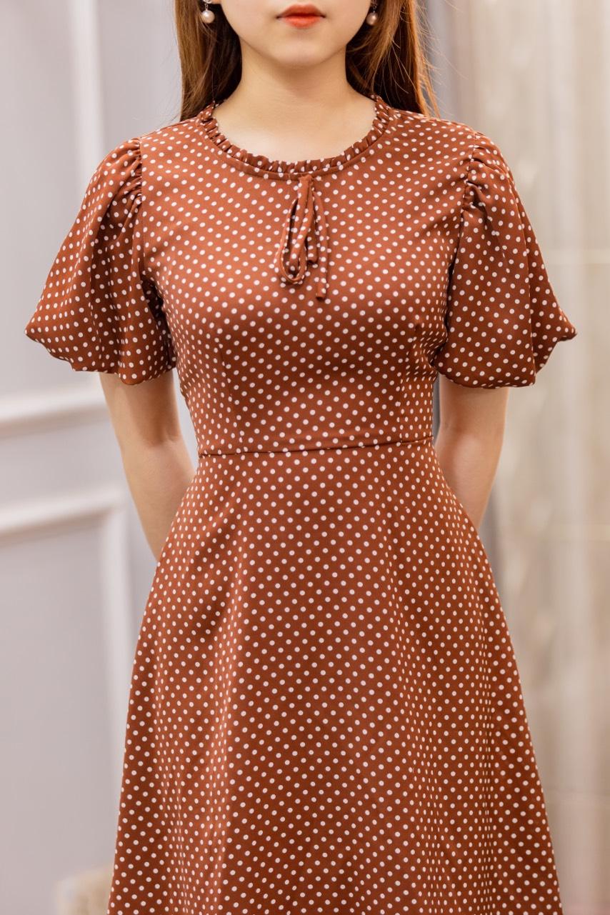 Váy Chấm Bi Tay Bồng