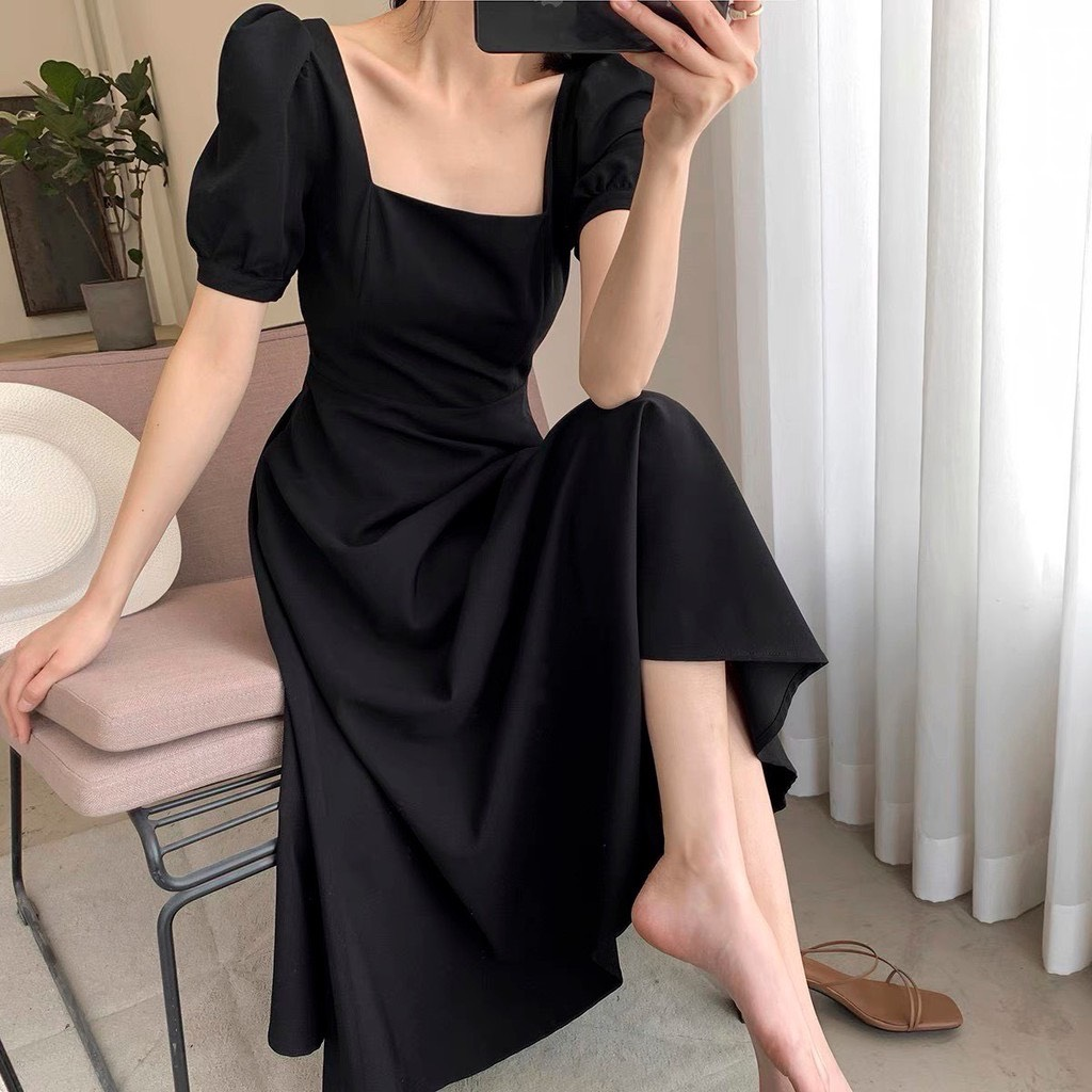 Váy Cổ Vuông Tay Bồng Cộc Tay - NB/T2/Pbe/K15