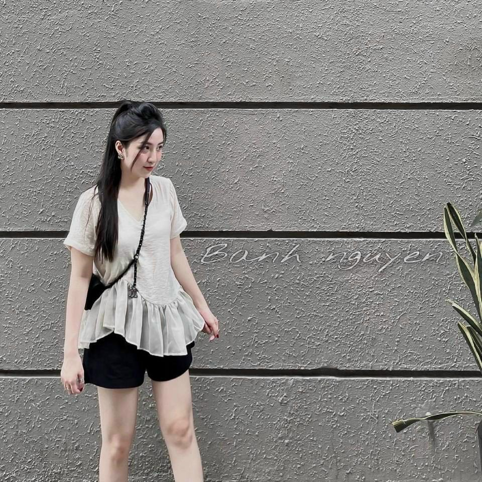 Cắt Mã - Set Yimi Lanh Tăm Áo Be - Quần Đen NB/T2/PB/K9