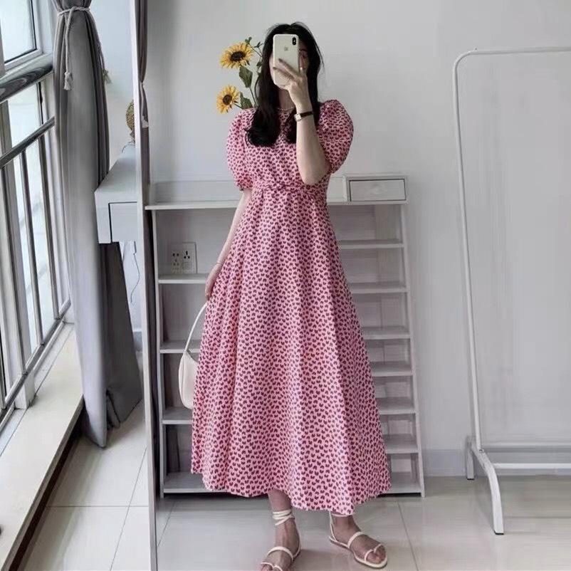 Váy Xoắn Eo Tay Bồng Tim Hồng NB/T1/K1