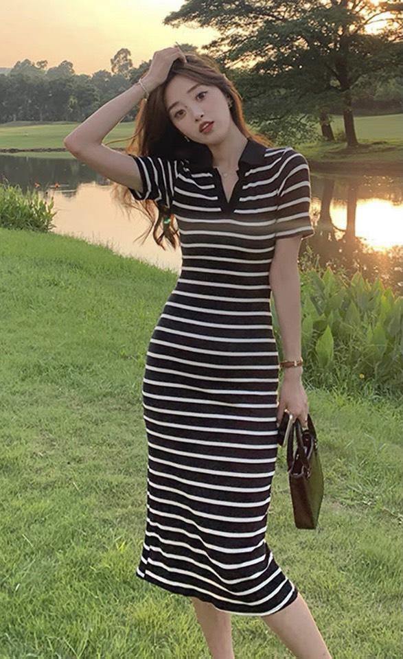 Váy Body Kẻ Sọc Dáng Dài NB/T1/K5